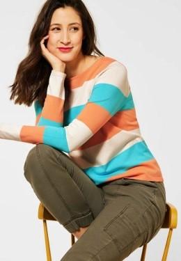 Street One Pullover mit Streifen mandarine